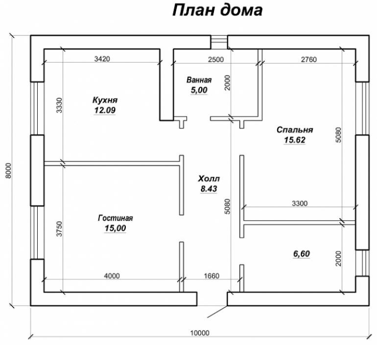 Построенный одноэтажный дом под ключ