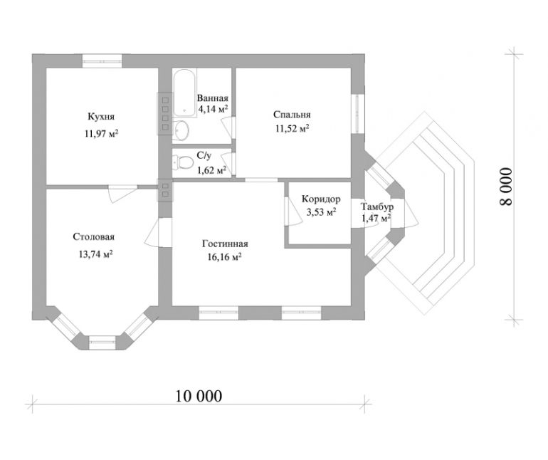 План одноэтажного дома из кирпича