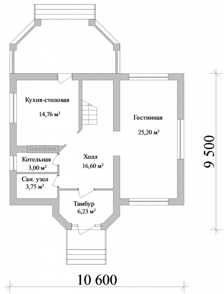 Проект двухэтажного дома площадью 80 кв.м.