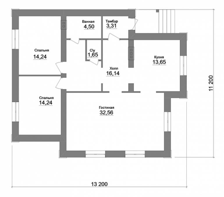 План дома одноэтажный из кирпича