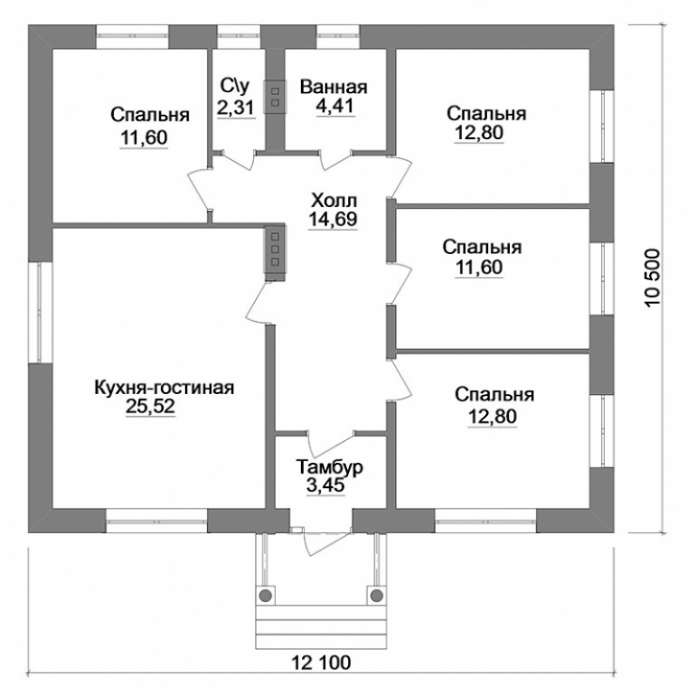 Планировка одноэтажного дома из керамического блока