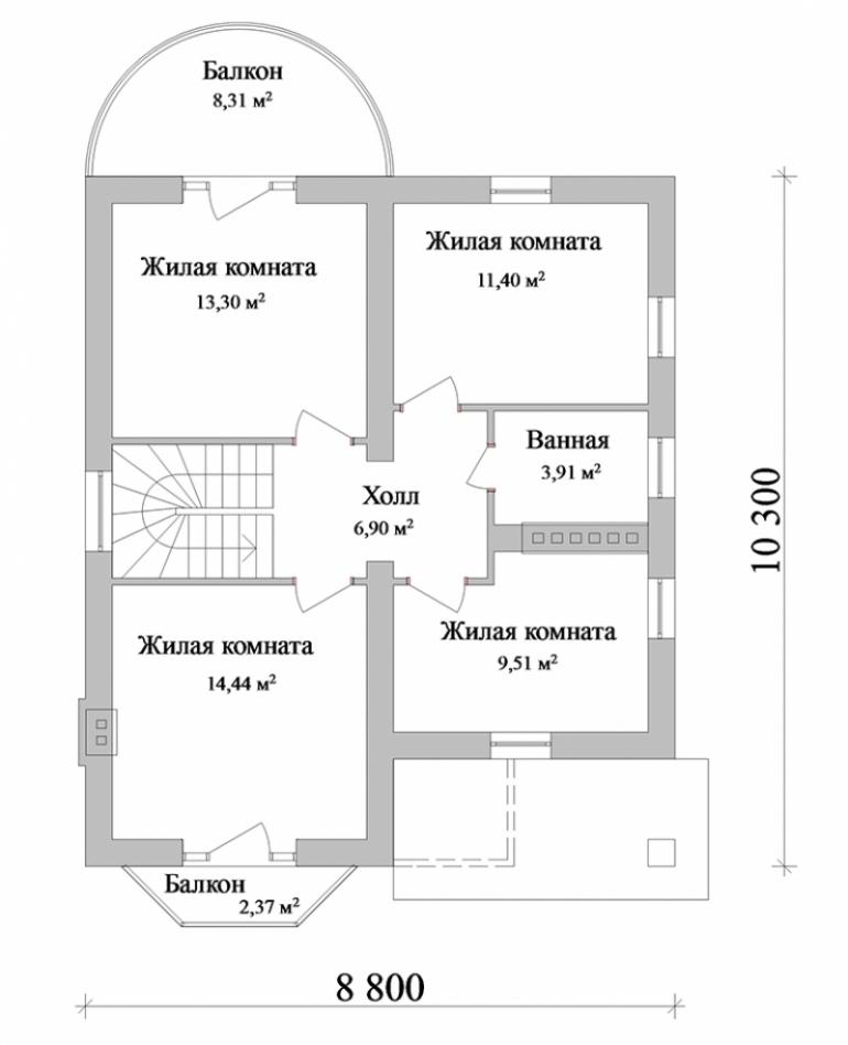 Проект двухэтажного дома площадью 158 кв.м.