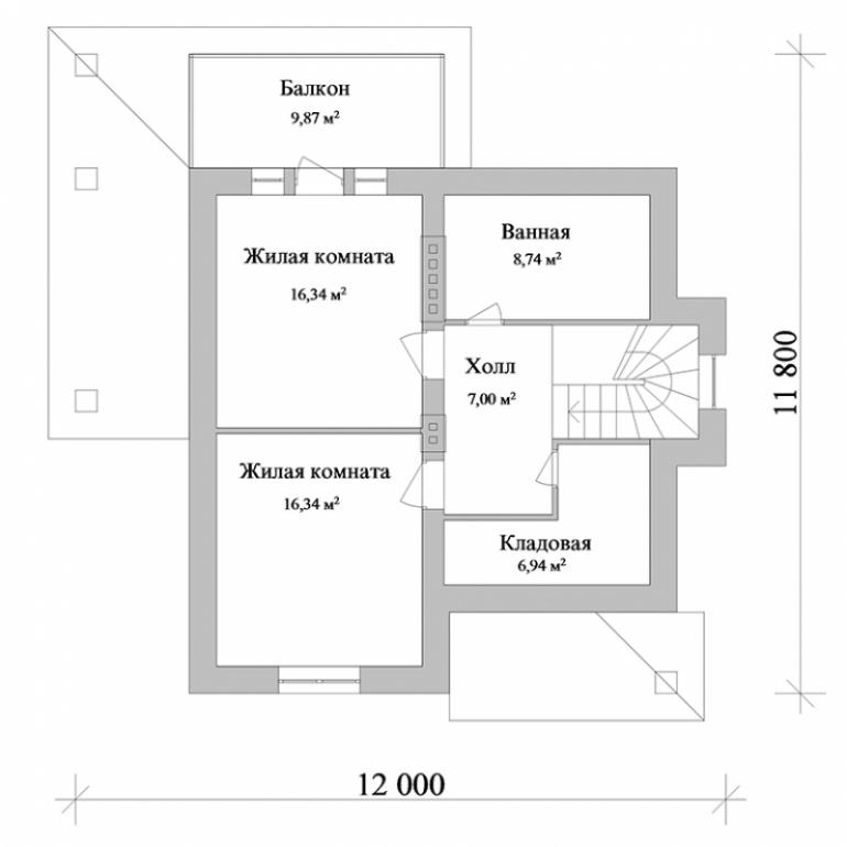 Проект двухэтажного дома №138-152