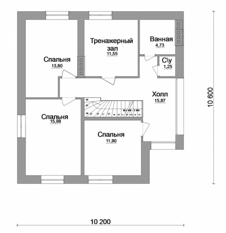 Проект большого двухэтажного дома с гаражом