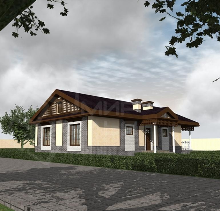 Проект одноэтажного дома из газоблока №112-114