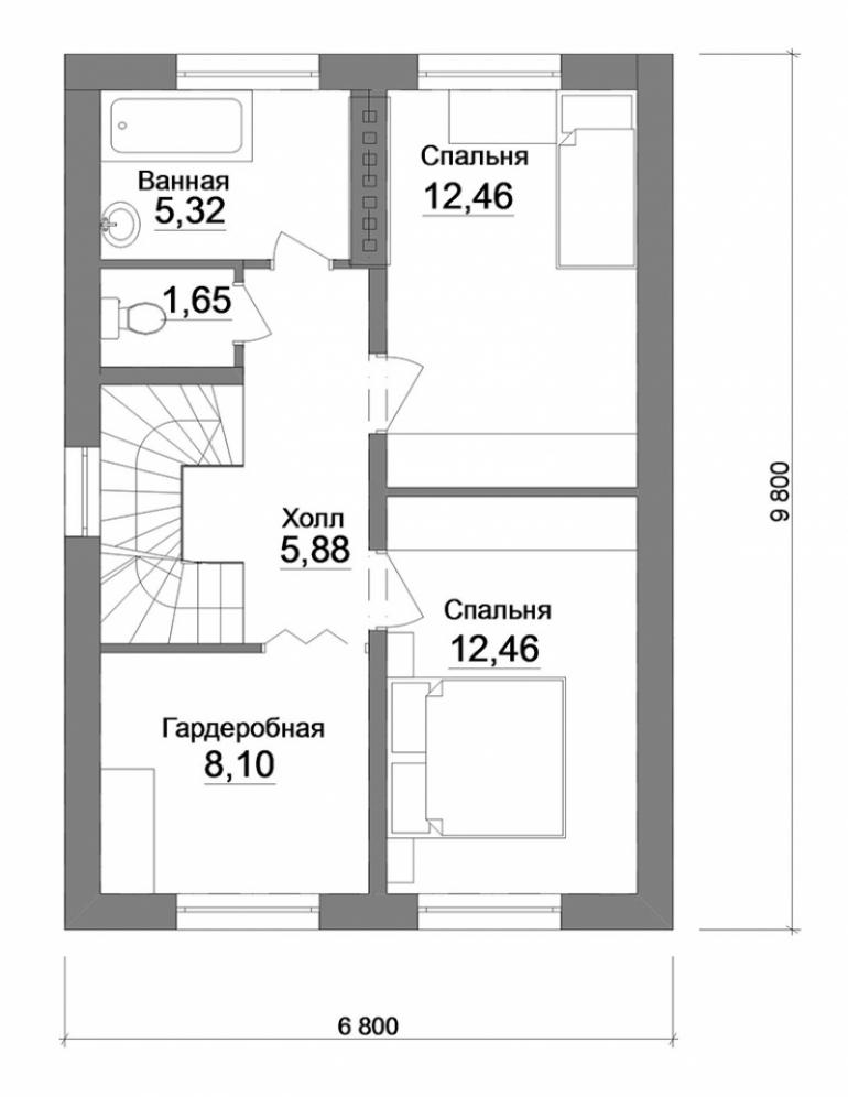 Проект двухэтажного дома №135-129