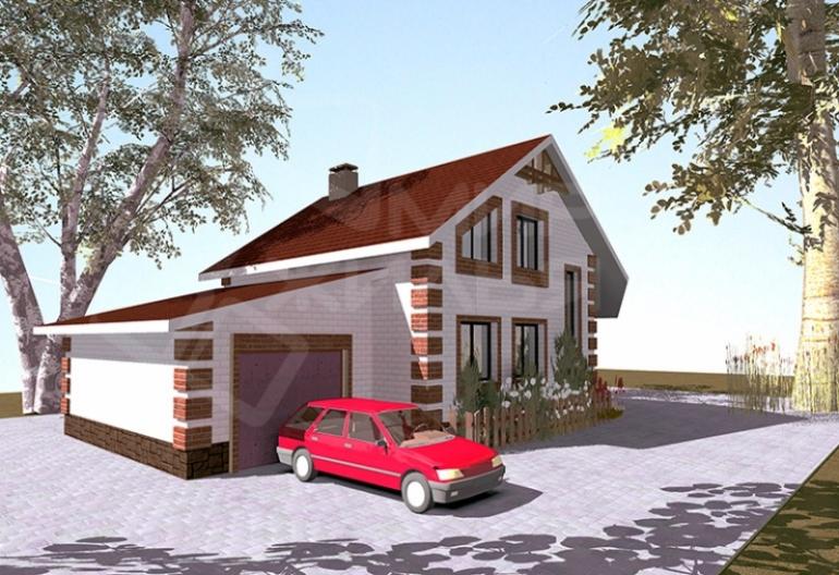 Проект дома с гаражом №165-150