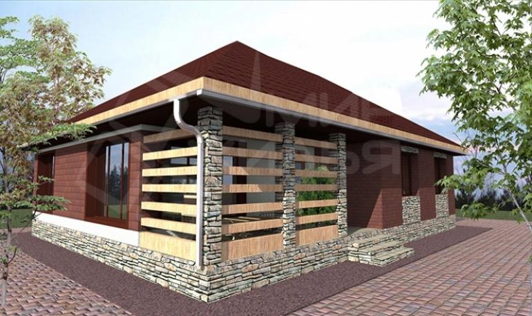 Проект одноэтажного дома из газоблока №86-112
