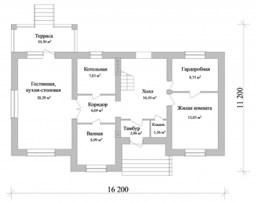 Проект частного дома с гаражом №256-230