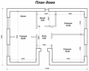 Проект одноэтажного дома площадью 69 кв. м