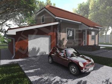 Проект дома с гаражом №54-92
