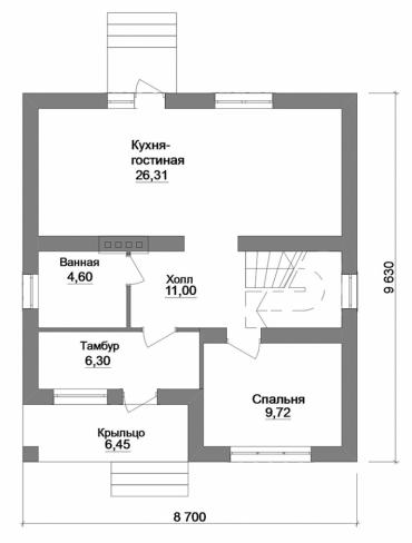План двухэтажного дома из кирпича