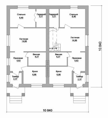 План дома на две семьи