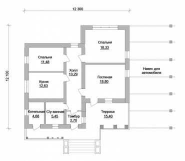 Планировка одноэтажного жилого дома под ключ