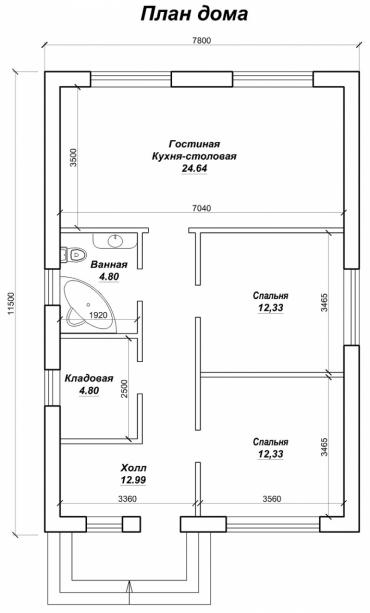 Одноэтажный частный дом