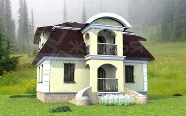 Проект двухэтажного дома из кирпича №129-108