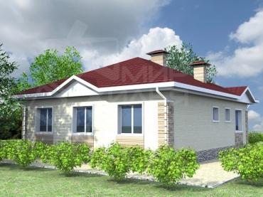 Проект одноэтажного дома из керамического блока №81-104