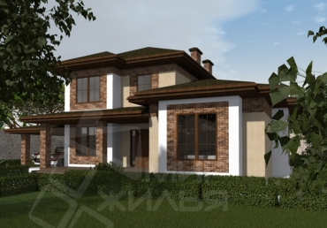 Проект двухэтажного дома из кирпича №164-153