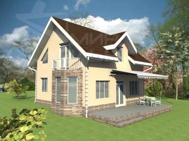 Проект двухэтажного дома №133-115