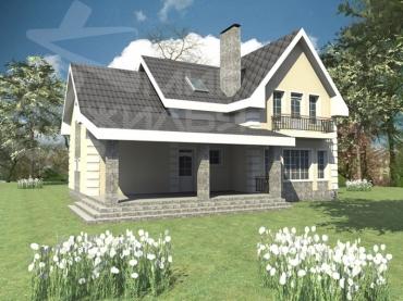 Проект двухэтажного дома из кирпича №226-221