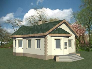 Проект одноэтажного дома из кирпича №228-68