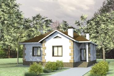 Проект дома одноэтажный из кирпича №84-109