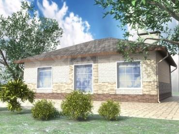 Проект одноэтажного дома из газоблока №82-111