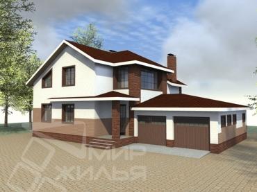 Проект большого двухэтажного дома с гаражом №330-225