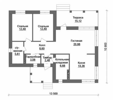 Планировка одноэтажного дома из газоблока