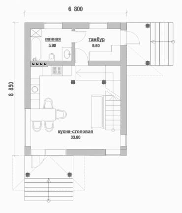 План дома с мансардой