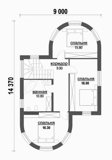 Проект двухэтажного дома под ключ №187-180